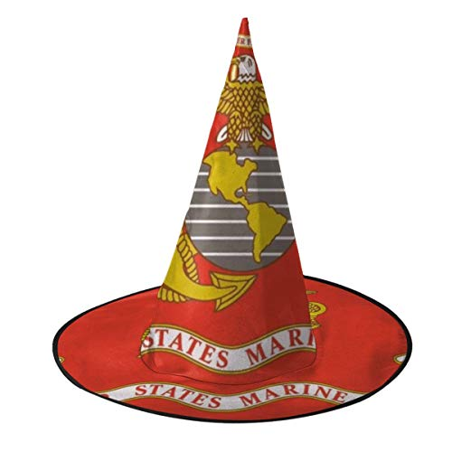 SVDSERWQ Marines Corps Flag Adult Women Witch Hat Halloween Party Cosplay Costume Decorations Accessories Cap for Women Boys Girls Halloween Christmas ()