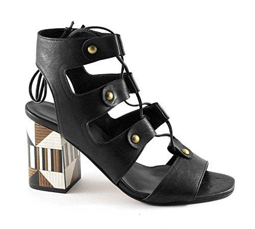 Sapena 33346 Negro mujer zapatos sandalias de cuero de tacón cordones de esclavos Nero