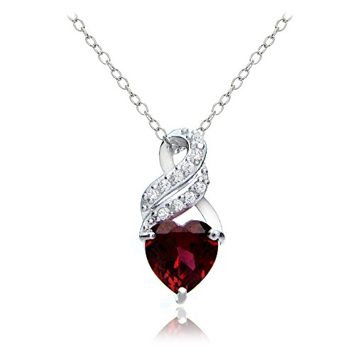 Sterling Silver Created Ruby & White Topaz Heart Double Twist Necklace