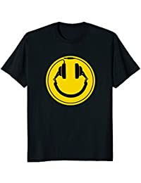 Headphones smiley DJ dance house rave music tee shirt