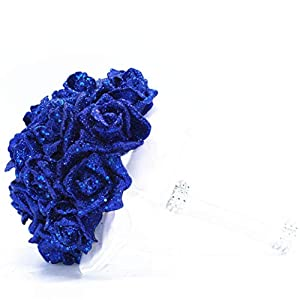 ZTTONE Crystal Roses Pearl Bridesmaid Wedding Bouquet Bridal Artificial Silk Flowers De (Blue) 2