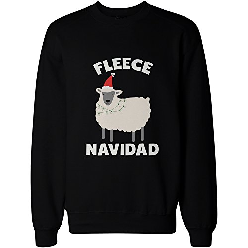 Fleece Navidad Funny Christmas Graphic Sweatshirts - Cute X-mas Pullover Sweater, X-Large Black