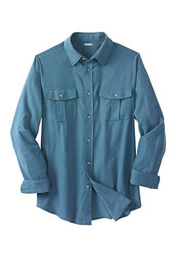 KingSize Men's Big & Tall Solid Double-Brushed Flannel Shirt, Slate Blue