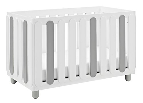 Storkcraft Sienna 3-in-1 Convertible Crib, White/Pebble Gray Easily Converts to Toddler Bed & Day Bed, 3-Position Adjustable Height Mattress ()