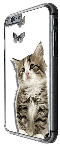 1293 - Cool Fun Trendy cute kwaii cat kitten feline pets love animals butterflies Design iphone 6 6S 4.7'' Coque Fashion Trend Case Coque Protection Cover plastique et métal - Clear