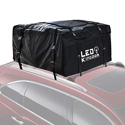 LED Kingdomus Car Roof Bag, Waterproof Cargo Top Storage Bag, 20 Cubic Feet Heavy Duty Rooftop Bag Vehicle Soft Shell Carrier Bag, Fits All Cars with Roof Rack, 4 Reinfored Straps Included