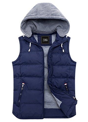 ZSHOW Men's Winter Removable Hooded Down Vests with Pockets(Dark Blue,Medium)