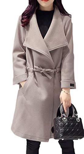237f2f8ea53 Lutratocro Women Long Sleeve Winter Lapel Wool Belted Plus Size Trench Coat  Outwear