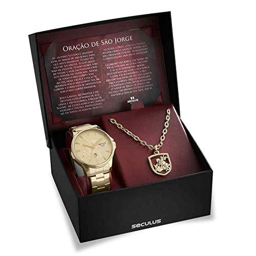 Relógio Seculus Masculino Medalha 28933gpskda1k1