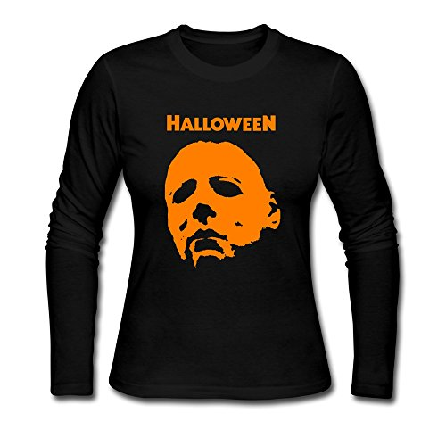 JIAYOUCT Women's Michael Myers Halloween Attack Long Sleeve T-shirt Size XXL (Steve Kerr Halloween)
