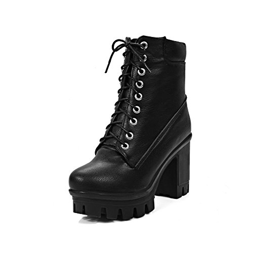 AllhqFashion Womens High Heels Solid Round Closed Toe Lace Up Boots, Black, 42