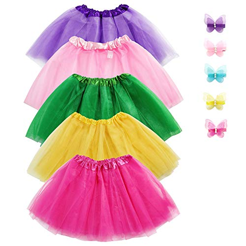 Girls Tutu Skirt Set,  Jeowoqao 5-pack 3 Layer Ballet Dance Tutu Dress with 5-pcs Flower Hairpins Fit Kids Age 3-8 -