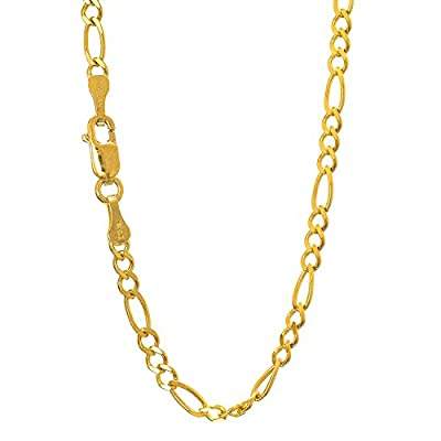 """Jewelstop 14k Solid Yellow Gold 2.8 mm Figaro Chain Anklet, Lobster Claw Clasp - 10"""""""