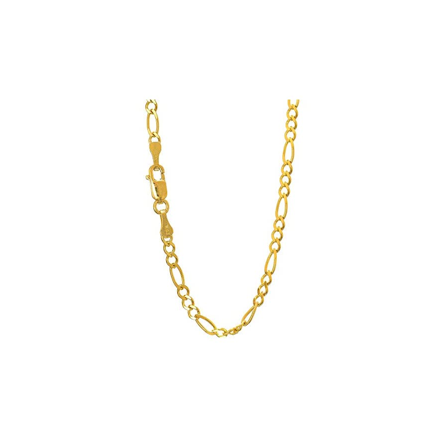 "JewelStop 14k Solid Yellow Gold 2.8 mm Figaro Chain Anklet, Lobster Claw Clasp 10"", 2.7gr."