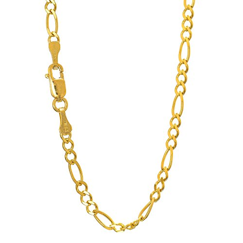 """JewelStop 14k Solid Yellow Gold 2.8 mm Figaro Chain Anklet, Lobster Claw Clasp 10"""""""