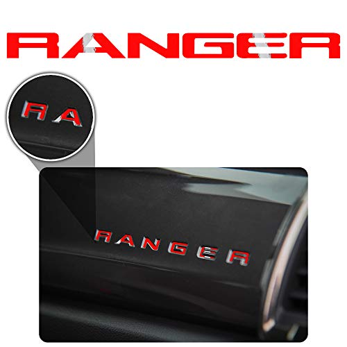 - Bogar Tech Designs - Letter Inlay Overlay Decal Sticker Vinyl Letters for Dashboard Glove Box Compatible with Ford Ranger 2019, Gloss RED