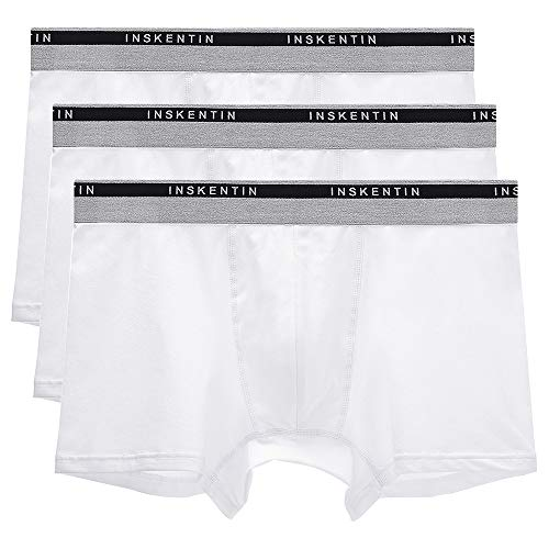 Inskentin 3 Pack Men's Low Rise Cotton Stretch Trunks Pouch Underwear Tagless Ultra Soft Boxer Briefs White Large