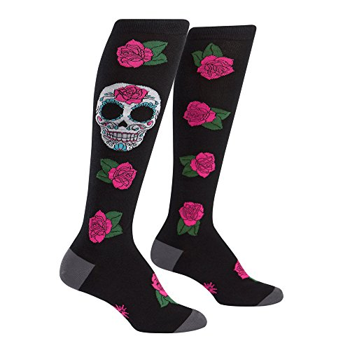 Sock It To Me Women's Knee High Funky Socks - Day Of The Dead Sugar Skull