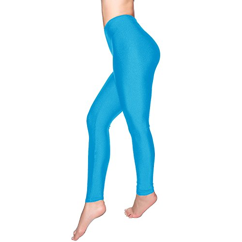 DCOIKO Women's Shiny Nylon Stretchy Skinny Dance Leggings Pants (S, Sky Blue) (Blue Shiny)