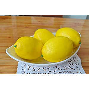 SAMYO Fake Fruit Home House Kitchen Party Decoration Artificial Lifelike Simulation Yellow Lemon 10pcs Set 5