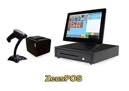 Retail Point of Sale System - Beginner POS System Includes Touchscreen PC, POS Software (Zeus POS), Receipt Printer, Scanner, Cash Drawer, and Credit Card Swipe Reader