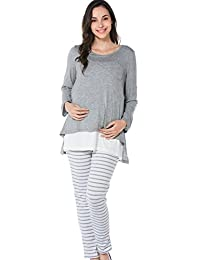 Smallshow Women's Maternity 2 Pcs Nursing Pajamas Breastfeeding Top and Pant