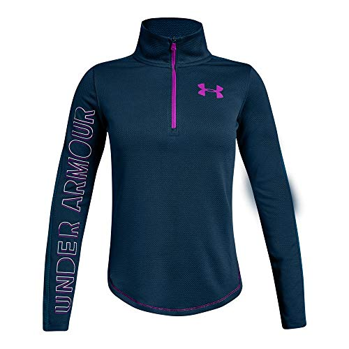Under Armour Girls Tech 1/2 Zip, Techno Teal (489)/Fluo Fuchsia, Youth Large ()