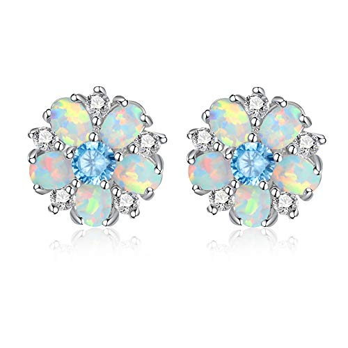 CiNily Flower Earrings,Blue Opal Stud Earrings Sterling Silver Plated Ladies Flower Stud Earrings Cute Unique Earrings for ()