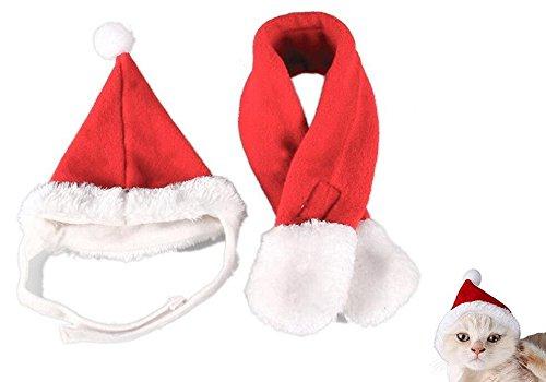 Rcdxing Weihnachten Katze Santa Hut Weihnachten Hund Schal Pet Kostüm Anzug Set
