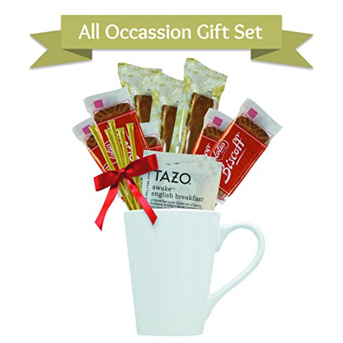 Tazo Tea Gift Set Featuring: Large Bistro Style Mug, Nonni's Biscotti, Biscoff Cookies, & Original Honey Stix