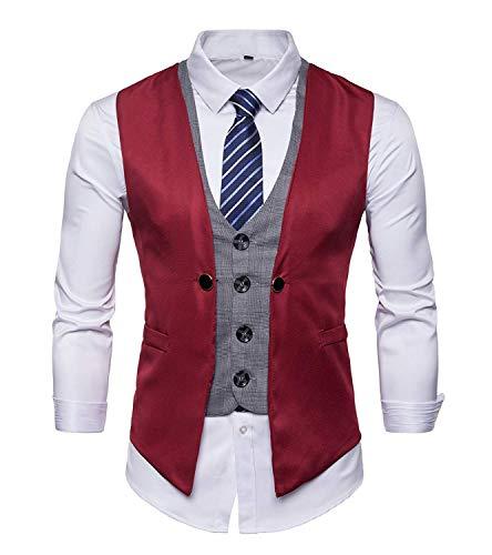 Moderne Casua Slim Veste Fit Blazer Loisirs Costume Mariage Gilet Rouge Tuxedo De wAqOXX