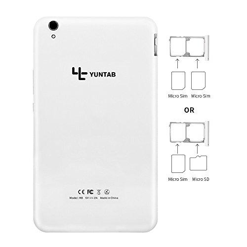 Yuntab H8 8 Inch A53 64bit CPU,1.3Ghz Quad Core Android 6.0,Unlocked Smartphone Phablet Tablet PC,2G+16G,HD 800x1280,Dual Camera 2M+5M,IPS,WiFi,P-Sensor,G-Sensor,GPS,Support 2G/3G/4G(White) by Yuntab (Image #5)