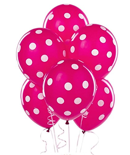 Polka Dot Balloons 11in Premium Berry Hot Pink with All-Over print White Dots Pkg/50 ()