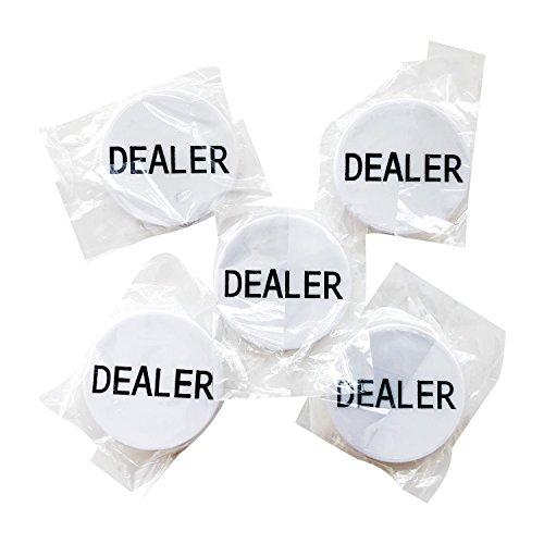 YH Poker Set of 5 Professional Casino Texas Holdem Poker Dealer Buttons ()