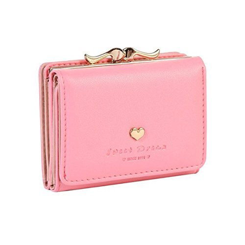 Jastore Girls Womens Small Clutch Leather Purse Cards Holder Wallet (Pink) ()