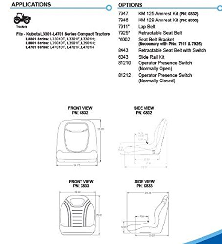 Amazon com: Kubota L3301 L4701 Series Tractor Seats KM 129