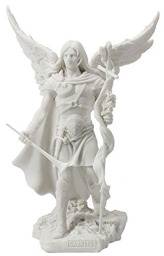 Archangel Saint Gabriel with Cross and Trumpet Statue Sculpture (White)