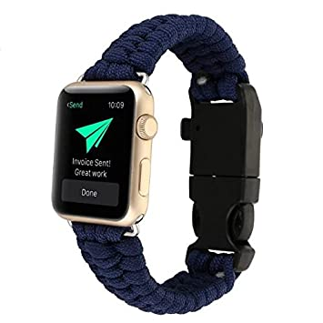 AIYIBEN 42MM iwatch de Apple Watch reloj de pulsera de supervivencia de paraguas de Nylon nueva cuerda de banda. (Dark Blue): Amazon.es: Hogar
