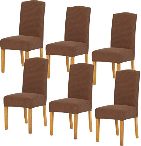 TIANSHU Stretch Chair Cover for Home Decor Dining Chair Slipcover (6 Pack, Coffee)