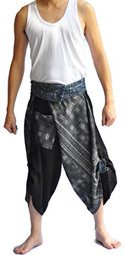 Unisex Thai Fisherman Pants Yoga Trousers Free Size Cotton Black Two - Pants Pattern Fisherman Thai