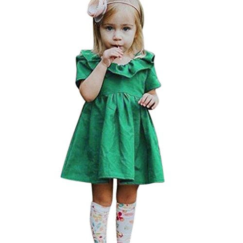 ARINLA Children's infant baby girls solid ruffle bowknot princess dress costume