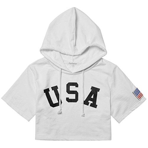 (Patriotic Crop Hoodie American Flag USA Print Sweatshirt for Women)
