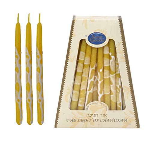 Hanukkah Candles - by Safed Candles, Handcrafted in Israel, Box of 45 - Fits Most Menorahs - Premium, Kosher, Dripless, Wax, for Chanukah (Yellow)