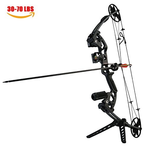 ATROPOS-125 Archery Hunting Pro Compound Bow Set, 30-70lbs Draw Weight, Black