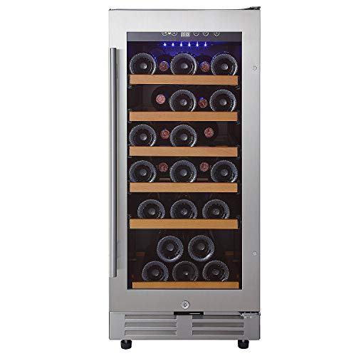 Wine Enthusiast Classic 15-Inch Under-Counter Wine Refrigerator - 30 Bottle Wine Fridge, Stainless Steel