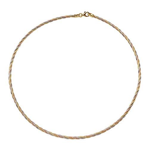 (Prime Pristine Sterling Silver Italian Chain Necklace 3mm 3 Layer Twisted Tri-Color Omega Spring Chain (16, 18, 20 Inch) - 18