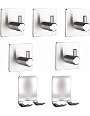 Adhesive Hooks Set Stainless Steel Waterproof Shaver Hooks Heavy Duty Hanger Stand Hooks for Razors Charger Plug Bathroom Kitchen Organizer