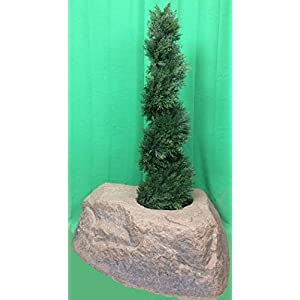 Artificial UV Rated Outdoor 4' Spiral Cypress Topiary Tree Bundled with Rock Planter Cover, by Silk Tree Warehouse 104