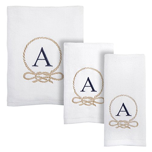 Traditions White Coastal Embroidered Monogram Towel Collection, 3-Piece Set, Bath, Hand and Fingertip Towels (Letter W)