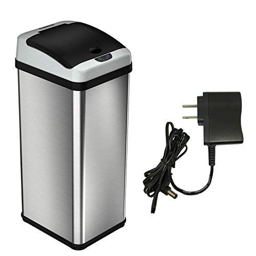 iTouchless RXAC1F-S 13 Gallon Automatic Touchless Sensor Kitchen Can with AC Adapter Odor Filter Deodorizer, Waterproof Reusable''TRASH'' Vinyl Sticker, Platinum Limited Edition (Stainless Steel),
